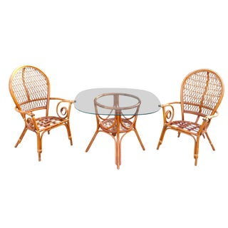 1970s Vintage Bent Wood Bamboo Rattan Palm Springs Style Dining Set- 3 Pieces For Sale