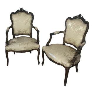 Antique Italian Fauteuil Arm Chairs - a Pair For Sale