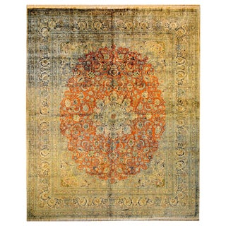Incredible Vintage Silk Indian Isfahan Rug For Sale