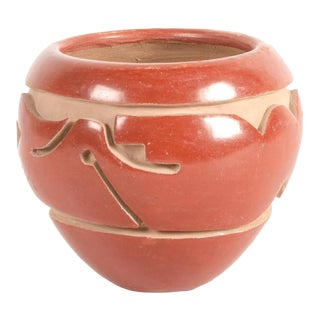 Southwest Mida Tafoya Redware Jar With Carved Avanyu Design For Sale