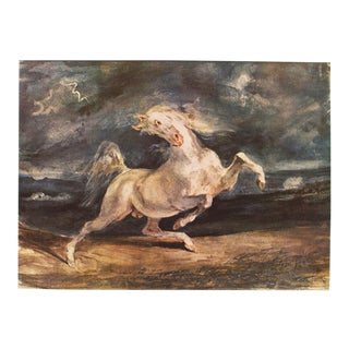1959 Frightened Horse by Delacroix Large Hungarian Lithograph For Sale