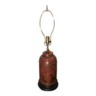 Antique Red Chinoiserie English Tole Tea Canister Lamp For Sale