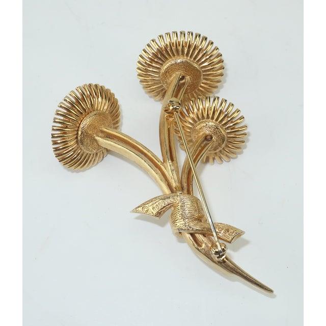 Metal 1950s Vintage Marcel Boucher Gold Tone Coral Flower Brooch For Sale - Image 7 of 12