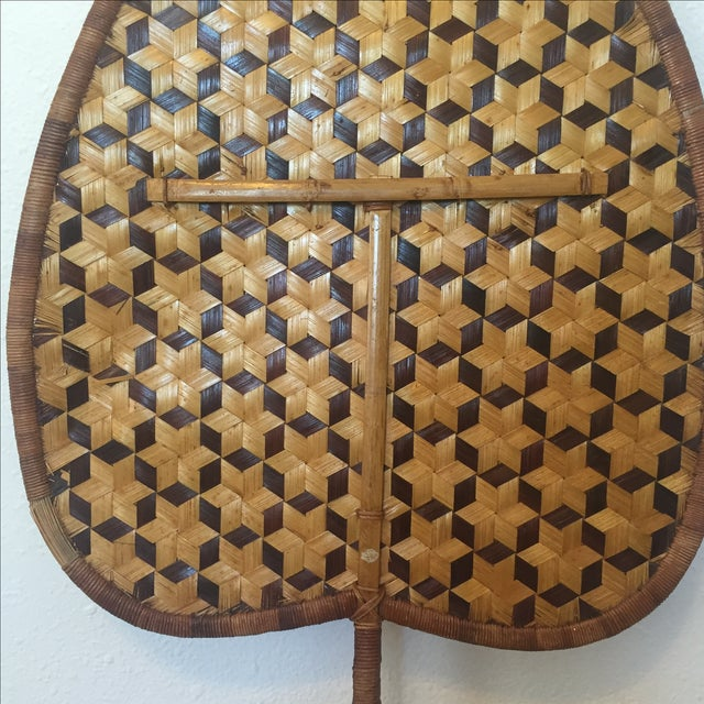 Vintage Bamboo Woven Reed Fan For Sale - Image 5 of 8