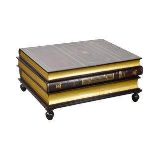 Maitland Smith Regency Style Stacked Leather Books Coffee Table