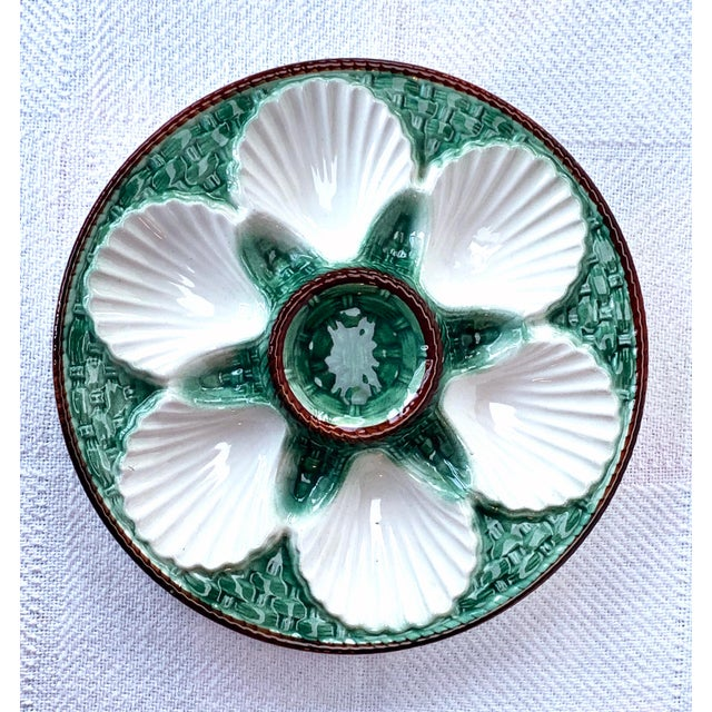 C.1960, vintage French majolica oyster plate, unmarked.