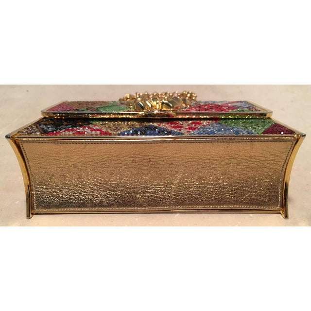 Metal Judith Leiber Multicolor Swarovski Crystal Top Flap Box Minaudiere Evening Bag For Sale - Image 7 of 8