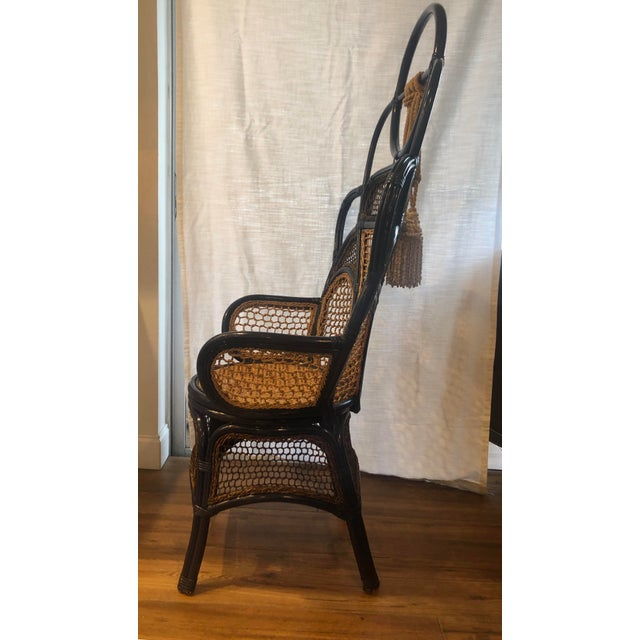 Anthropologie Modern Anthropologie Rattan Wicker and Cane High Gloss Navy Blue Peacock Chair For Sale - Image 4 of 6