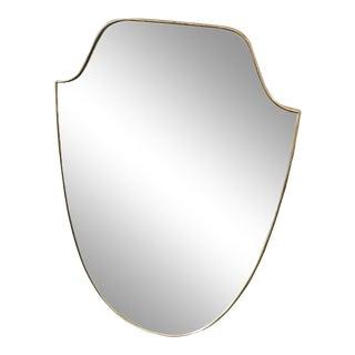 1950s Italian Mid-Century Modern Gio Ponti Style Brass Shield Wall Mirror For Sale