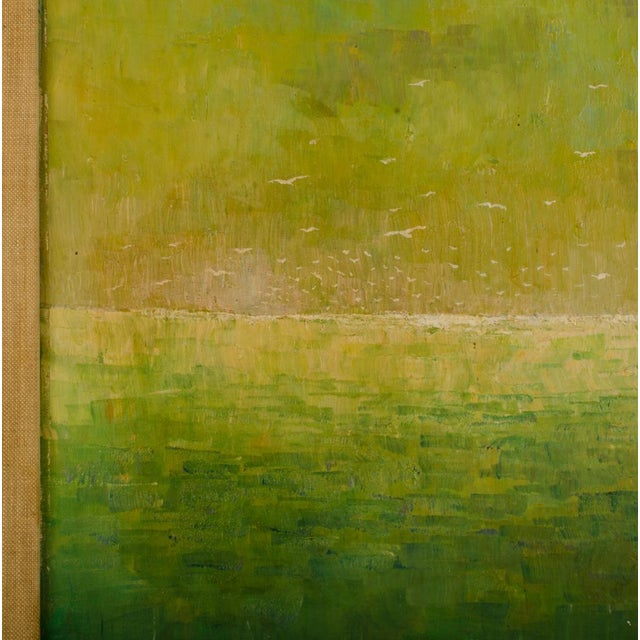 """Canvas 1960s """"Flock of Seagulls"""" Abstract Oil Painting, Framed For Sale - Image 7 of 12"""