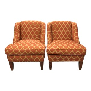1990s Traditional Moorish Style Persimmon Upholstered Wingback Chairs - a Pair