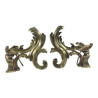 Louis XV Style Andirons With Birds - A Pair For Sale