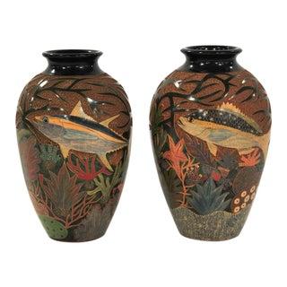 Enmanuel Maldonado Oval Fish Ceramic Vases - a Pair For Sale