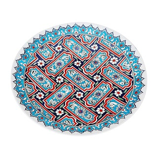 Traditional Turkish Iznik Baby Blue and Turquoise Pottery Platter For Sale