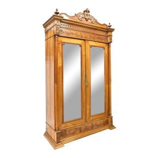 Late 19th Century Antique French Provincial Fruitwood Mirrored Armoire For Sale