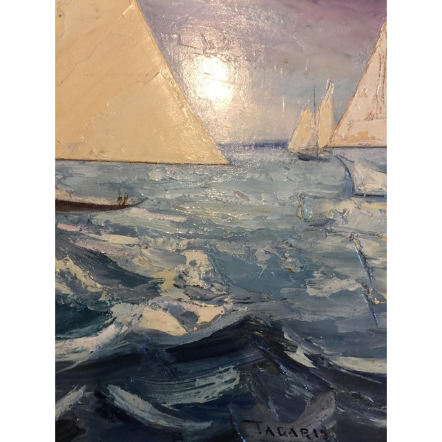 Fabulous Signed Oil on Canvas Board Seascape With Sailboats - #3 - Image 4 of 4