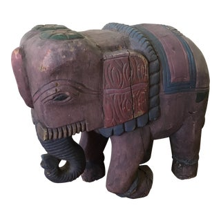 Vintage Hand Carved & Painted Elephant
