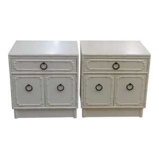 Palm Beach Faux Bamboo Nightstands - A Pair For Sale