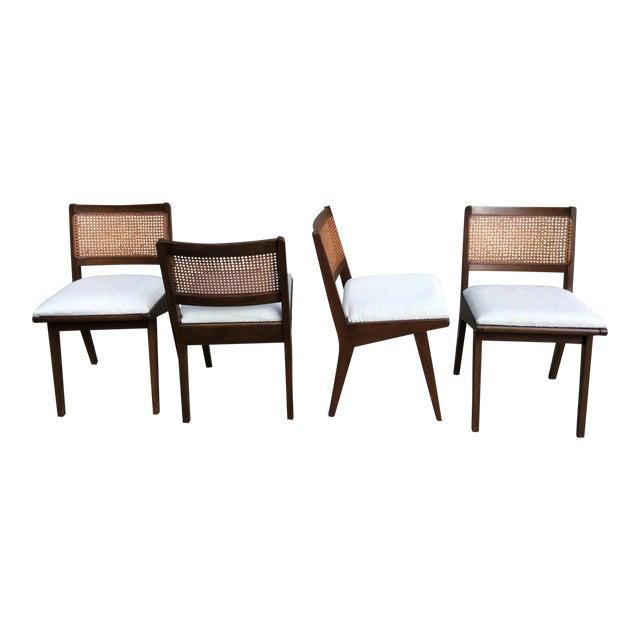 Mid-Century Walnut & Rattan Dining Chairs - Set of 4 - Image 1 of 10