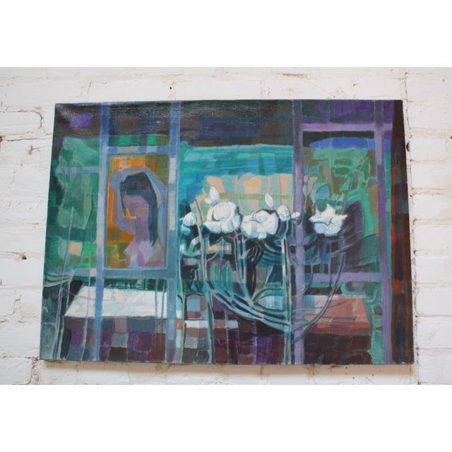 Oil on canvas (circa 1967) by Peppino Mangravite depicting a nude woman seen through windows styling her hair with flowers...