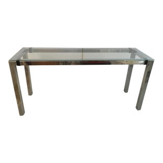 Milo Baughman Chrome & Glass Console With Leather