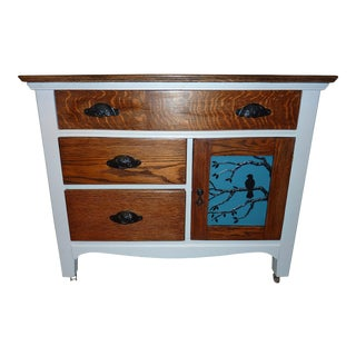 1880's Chalked Oak Antique Washstand