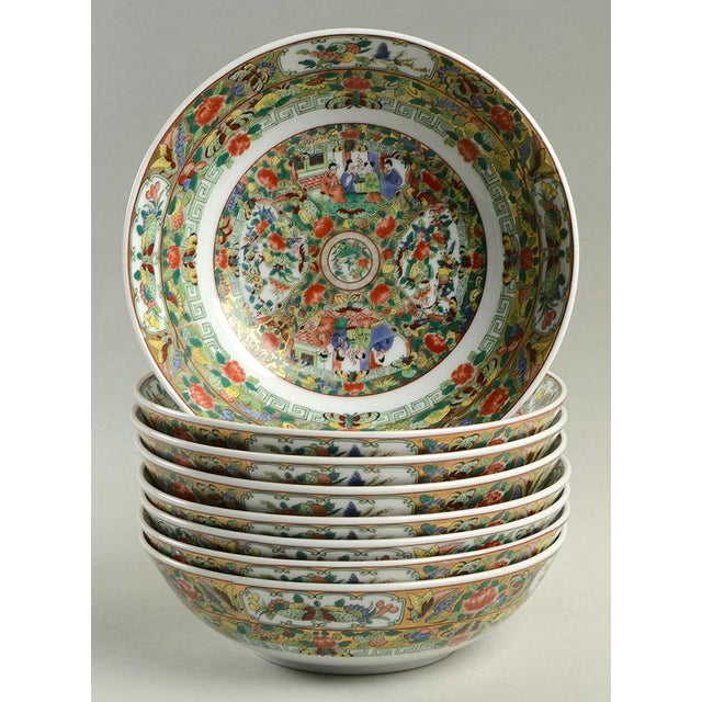 Red 1970s Hong Horizons Canton Rose Individual Bowl - Set of 8 For Sale - Image 8 of 8