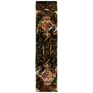Neoclassical Tudor Crest Inspired Cream and Brown Floral Wool Runner - 3′ × 14′7″ For Sale