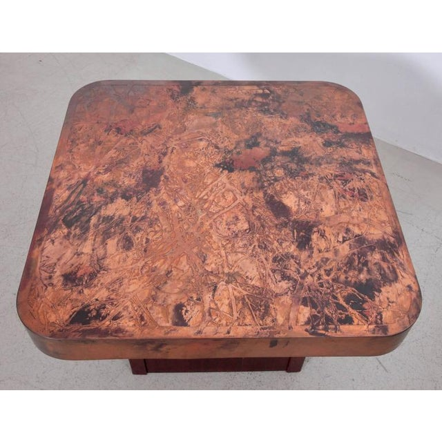 Mid-Century Modern Rare Copper and Mahogany Coffee or Side Table by Bernhard Rohne For Sale - Image 3 of 4