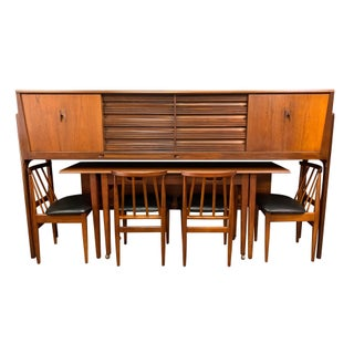 Vintage British Mid Century Modern Teak Credenza-Dining Set by Elliotts of Newbury. For Sale