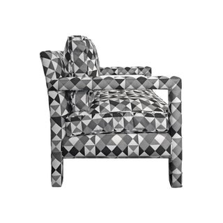 1970s Milo Baughman Style Parsons Lounge Chair in Black, White and Grey Geometric Fabric Preview