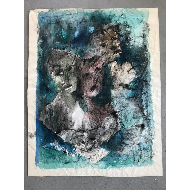 Offered is an original watercolor abstract painting by E. Rogers Sheehy 1965. Vaguely depicts 3 faces in and array of deep...