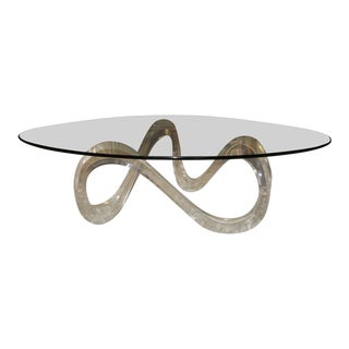 Noguchi Style Acrylic Kidney Shaped Coffee Table For Sale