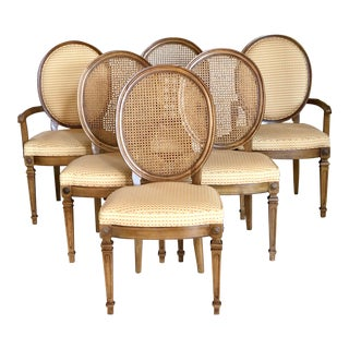 Vintage Louis XVI Gingham Check Cane Dining Chairs – Set of 6 For Sale