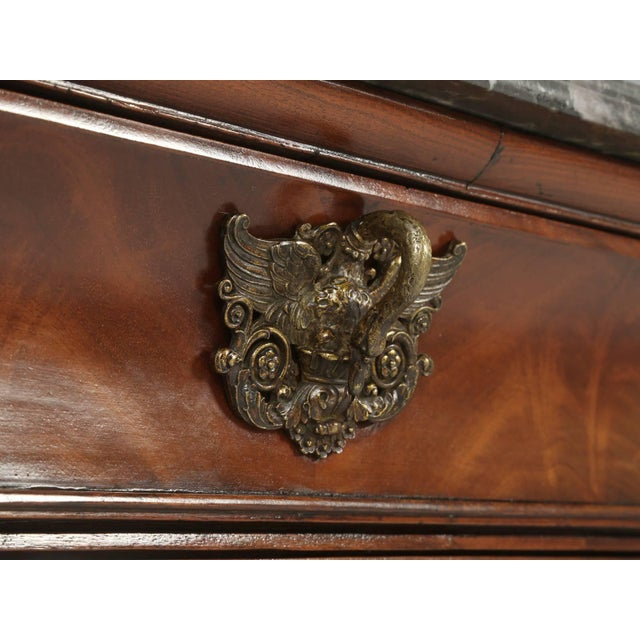 Brass Antique French Commode in Mahogany With Exquisite Hardware For Sale - Image 7 of 10