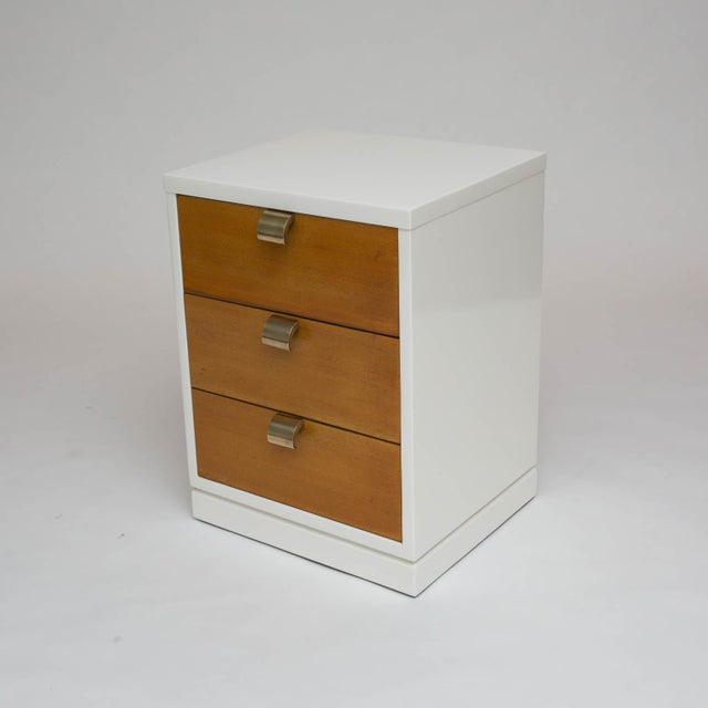 Gold Mid-Century Modern Lacquered Three-Drawer Nightstand For Sale - Image 8 of 8