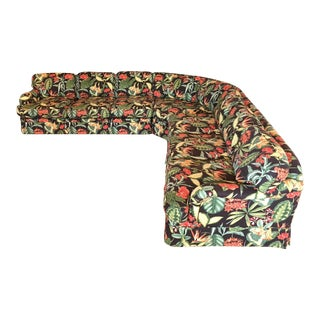 Large Drexel Heritage Tropical Print Sectional Sofa For Sale