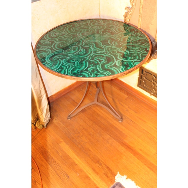Metal 20th Century Regency Faux Painted Malachite Table For Sale - Image 7 of 7