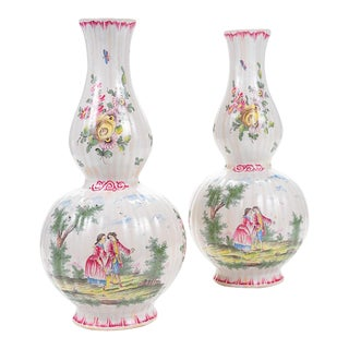 "18th Century French Enamel 12"" Vases - Pair"