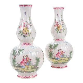 "18th Century French Enamel 12"" Vases - Pair"