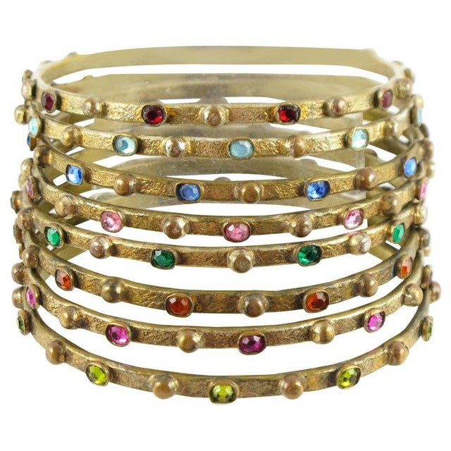 Blue French Henry Perichon Gilt Bronze Bracelet Bangle Spacer 8 Pieces With Stones For Sale - Image 8 of 8