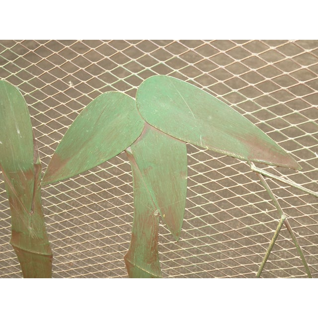 Vintage French Country Black Fireplace Screen with Bamboo Leaves Limbs For Sale In Los Angeles - Image 6 of 12