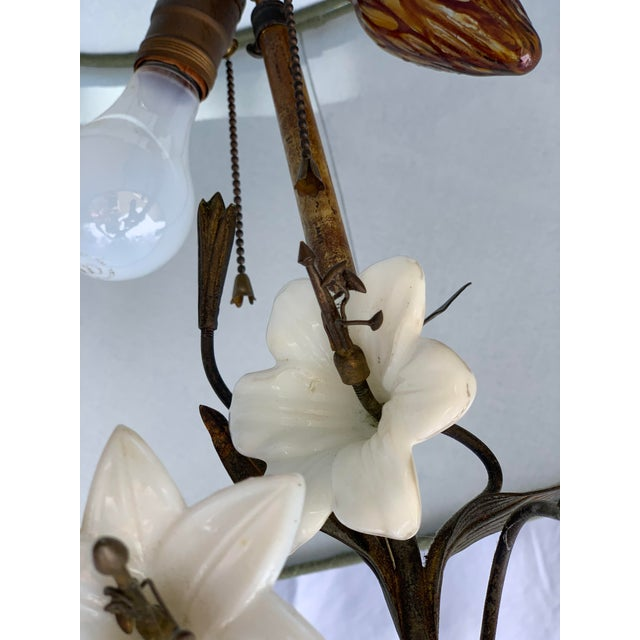 Metal Antique Late 19th Century French Brass Milk Glass Lily Lamps - a Pair For Sale - Image 7 of 8