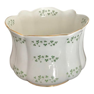 Irish Green Clover Gilt Rim Porcelain Cache Pot