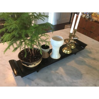 Vintage Mid Century Modern Black Footed Lacquered Wood Display Tray / Plant Stand Preview