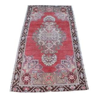 Vintage Turkish Red Wool Rug - 3′ × 5′5″