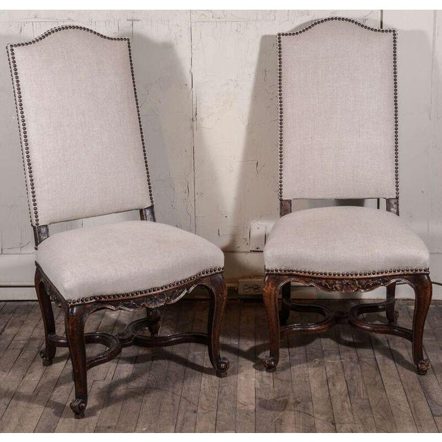 Pair of 19th Century Régence Style Side Chairs in Oak - Image 4 of 10