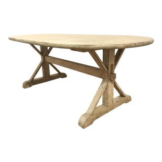 Organic Modern Antique White Wood Dining Table For Sale