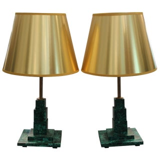 Square Malachite Table Lamps With Gold Shades - a Pair For Sale