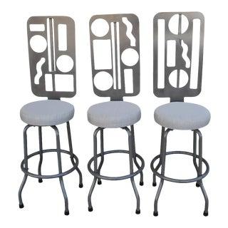 Custom Futuristic Swivel Bar Stools - Set of 3 For Sale